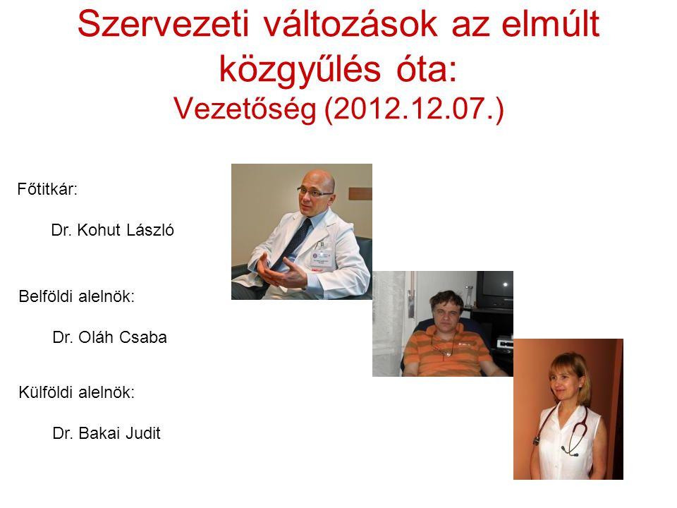 Szervezeti változások az elmúlt közgyűlés óta: Vezetőség (2012.12.07.) Főtitkár: Dr.