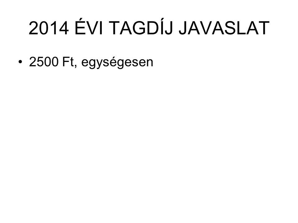 2014 ÉVI TAGDÍJ JAVASLAT •2500 Ft, egységesen