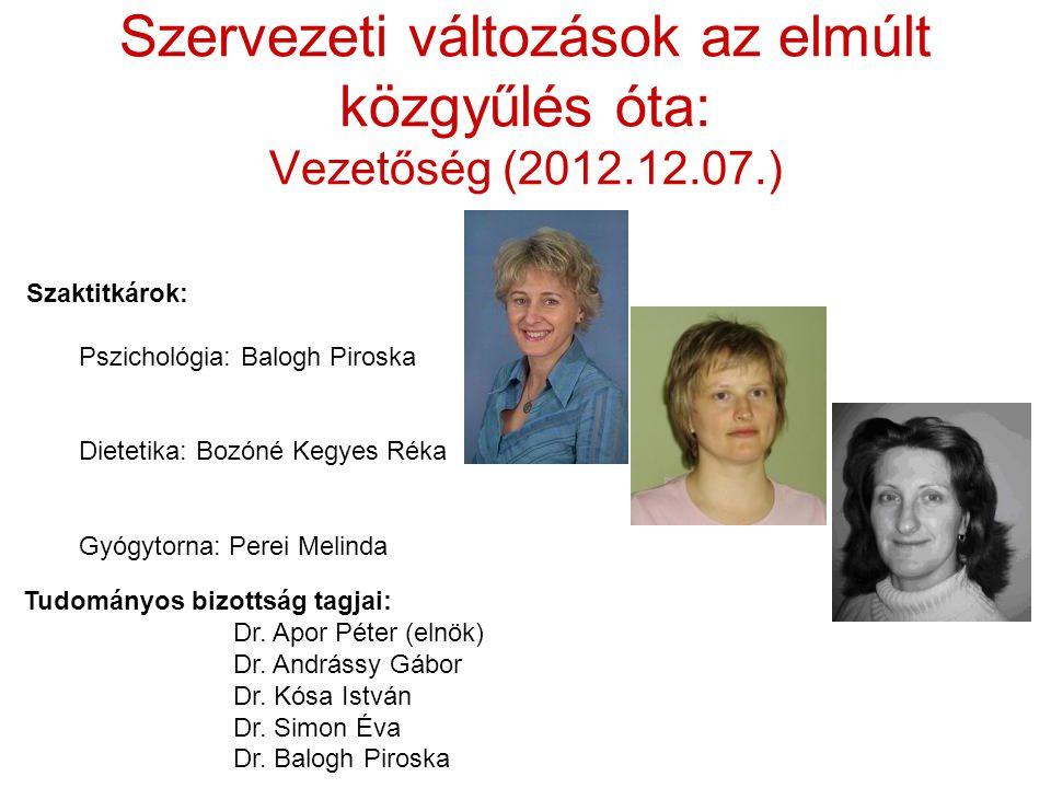 Szervezeti változások az elmúlt közgyűlés óta: Vezetőség (2012.12.07.) Tudományos bizottság tagjai: Dr. Apor Péter (elnök) Dr. Andrássy Gábor Dr. Kósa