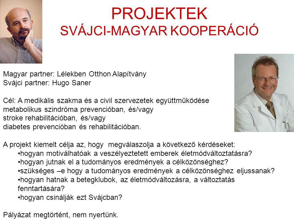 PROJEKTEK SVÁJCI-MAGYAR KOOPERÁCIÓ Magyar partner: Lélekben Otthon Alapítvány Svájci partner: Hugo Saner Cél: A medikális szakma és a civil szervezete