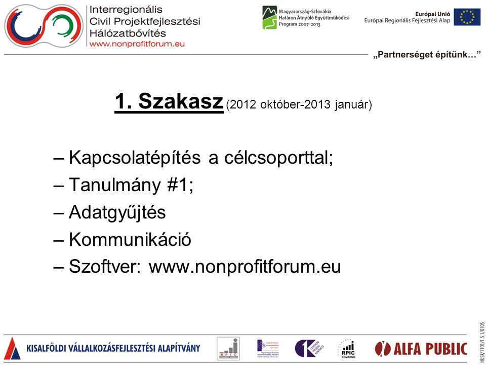 1. Szakasz (2012 október-2013 január) –Kapcsolatépítés a célcsoporttal; –Tanulmány #1; –Adatgyűjtés –Kommunikáció –Szoftver: www.nonprofitforum.eu