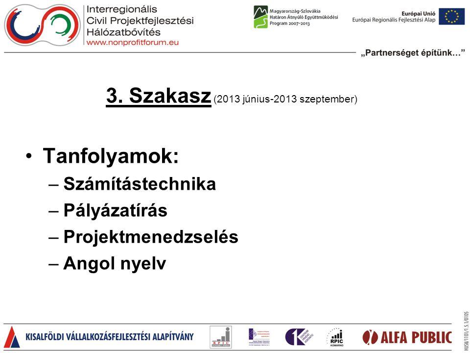 3. Szakasz (2013 június-2013 szeptember) •Tanfolyamok: –Számítástechnika –Pályázatírás –Projektmenedzselés –Angol nyelv