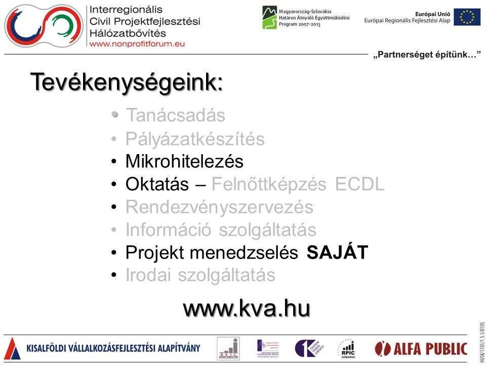 • • Tanácsadás • Pályázatkészítés • Mikrohitelezés • Oktatás – Felnőttképzés ECDL • Rendezvényszervezés • Információ szolgáltatás • Projekt menedzselés SAJÁT • Irodai szolgáltatás Tevékenységeink: www.kva.hu