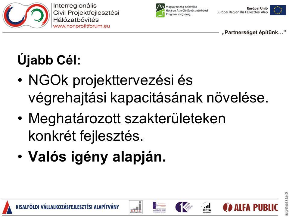 Újabb Cél: •NGOk projekttervezési és végrehajtási kapacitásának növelése.