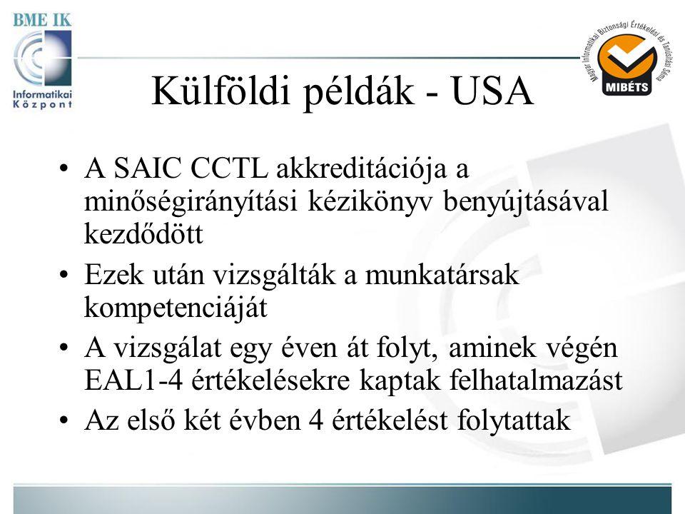 Külföldi példák - USA •A SAIC CCTL akkreditációja a minőségirányítási kézikönyv benyújtásával kezdődött •Ezek után vizsgálták a munkatársak kompetenciáját •A vizsgálat egy éven át folyt, aminek végén EAL1-4 értékelésekre kaptak felhatalmazást •Az első két évben 4 értékelést folytattak