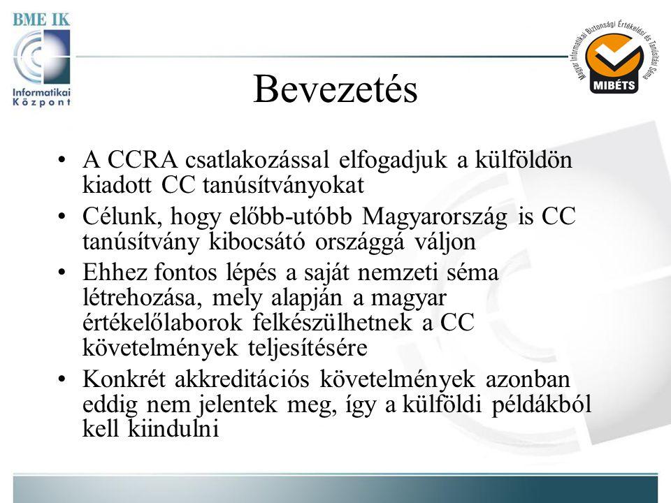 Bevezetés •A CCRA csatlakozással elfogadjuk a külföldön kiadott CC tanúsítványokat •Célunk, hogy előbb-utóbb Magyarország is CC tanúsítvány kibocsátó országgá váljon •Ehhez fontos lépés a saját nemzeti séma létrehozása, mely alapján a magyar értékelőlaborok felkészülhetnek a CC követelmények teljesítésére •Konkrét akkreditációs követelmények azonban eddig nem jelentek meg, így a külföldi példákból kell kiindulni
