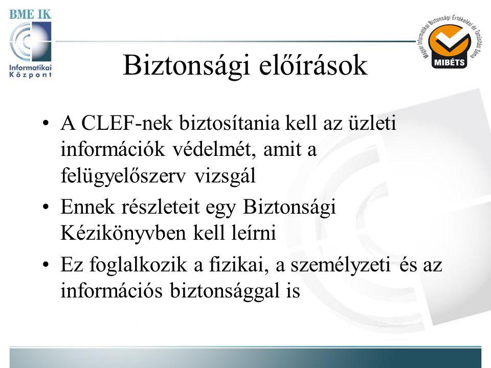 Biztonsági előírások •A CLEF-nek biztosítania kell az üzleti információk védelmét, amit a felügyelőszerv vizsgál •Ennek részleteit egy Biztonsági Kézikönyvben kell leírni •Ez foglalkozik a fizikai, a személyzeti és az információs biztonsággal is