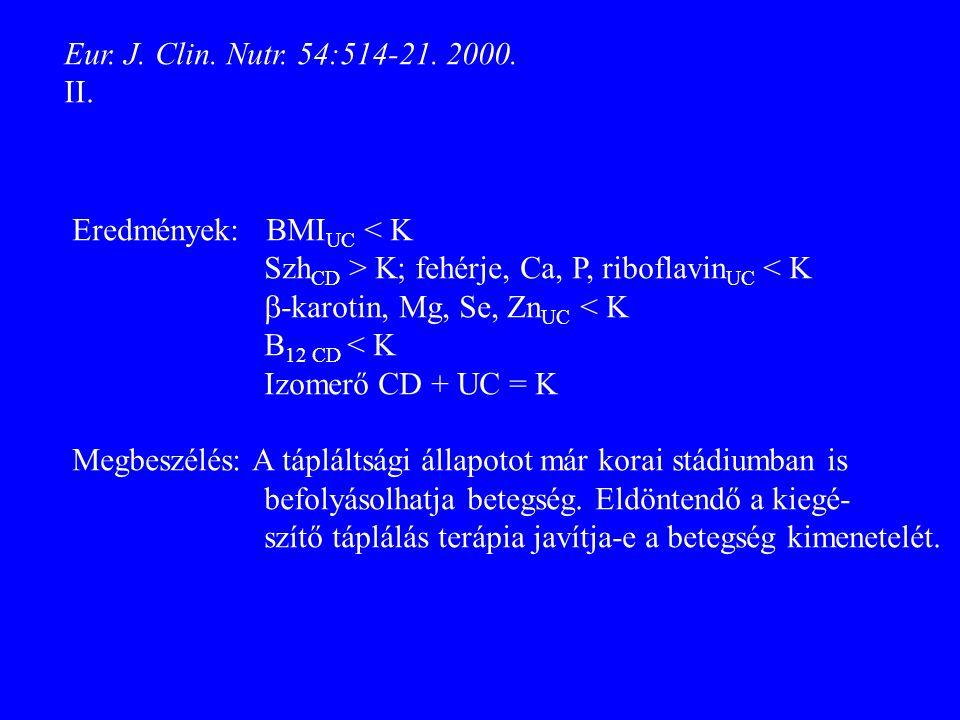 Eur. J. Clin. Nutr. 54:514-21. 2000. II. Eredmények: BMI UC < K Szh CD > K; fehérje, Ca, P, riboflavin UC < K  -karotin, Mg, Se, Zn UC < K B 12 CD <