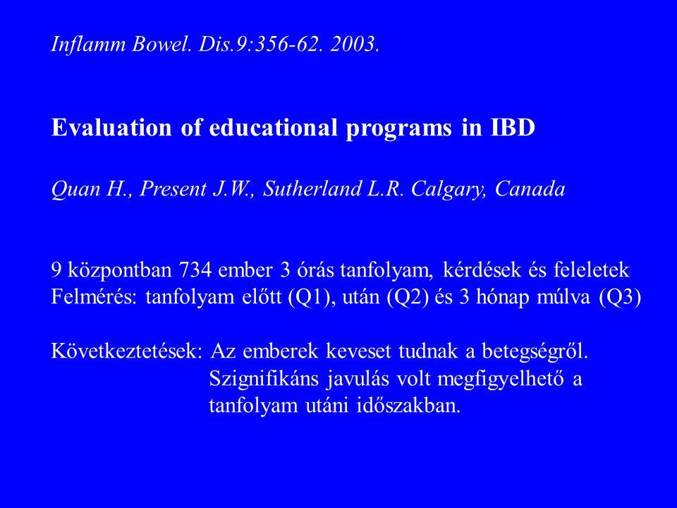 Inflamm Bowel. Dis.9:356-62. 2003. Evaluation of educational programs in IBD Quan H., Present J.W., Sutherland L.R. Calgary, Canada 9 központban 734 e