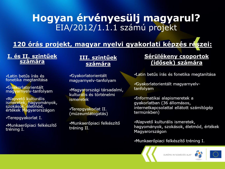Hogyan érvényesülj magyarul? EIA/2012/1.1.1 számú projekt