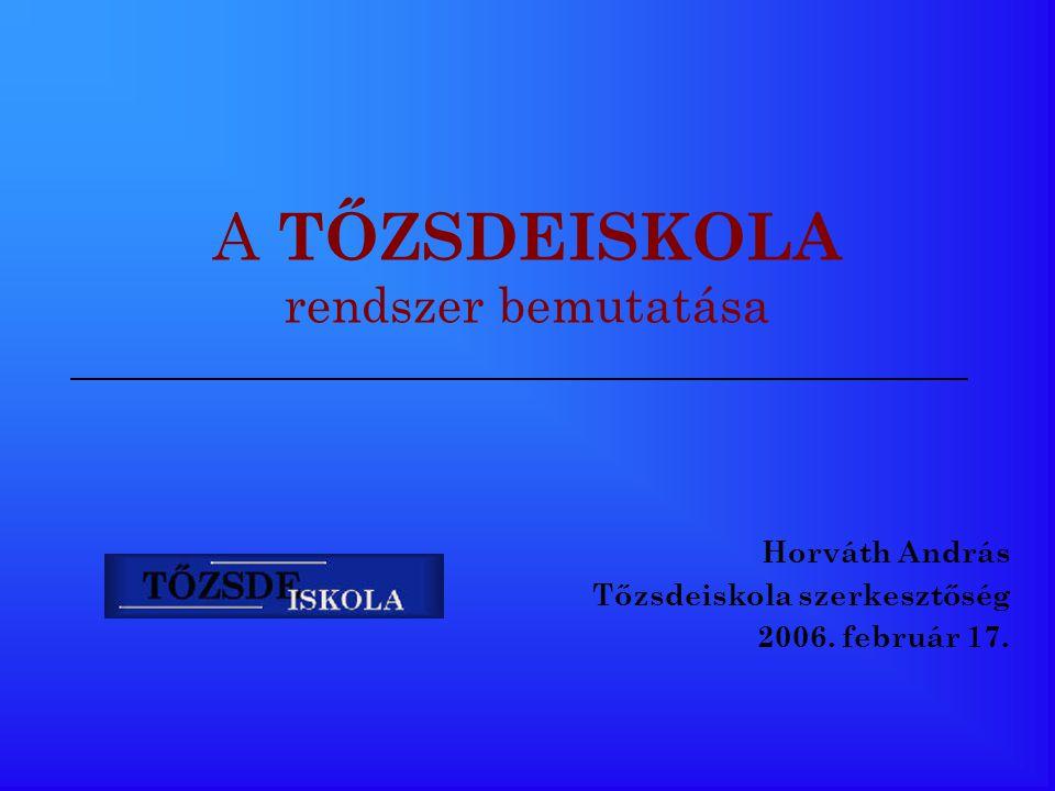 A TŐZSDEISKOLA rendszer bemutatása Horváth András Tőzsdeiskola szerkesztőség 2006. február 17.
