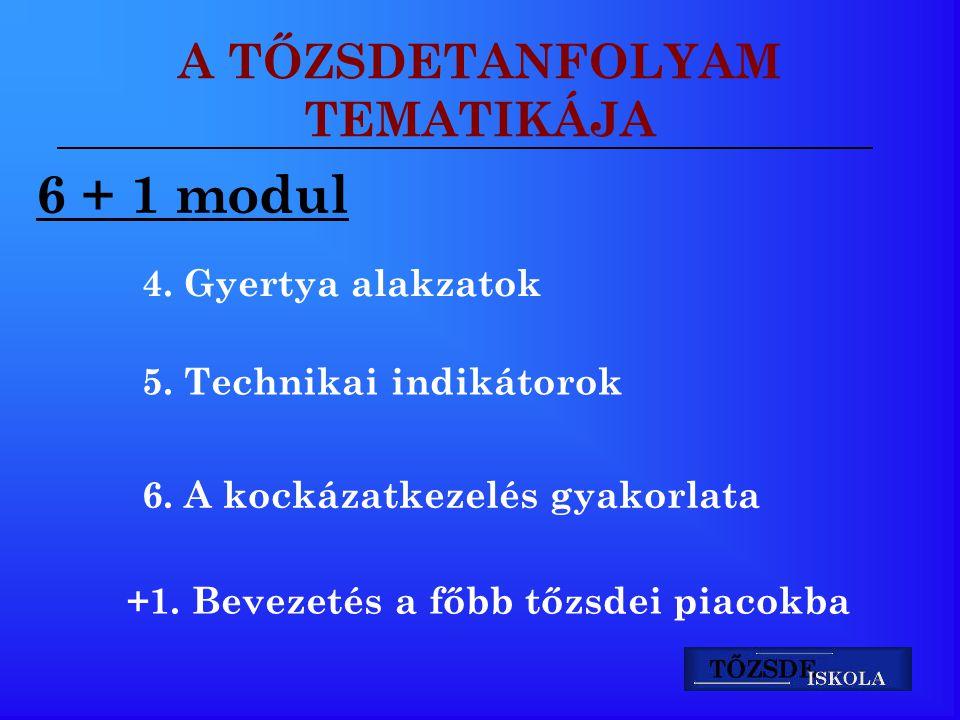 A TŐZSDETANFOLYAM TEMATIKÁJA 6 + 1 modul 4. Gyertya alakzatok 5. Technikai indikátorok 6. A kockázatkezelés gyakorlata +1. Bevezetés a főbb tőzsdei pi