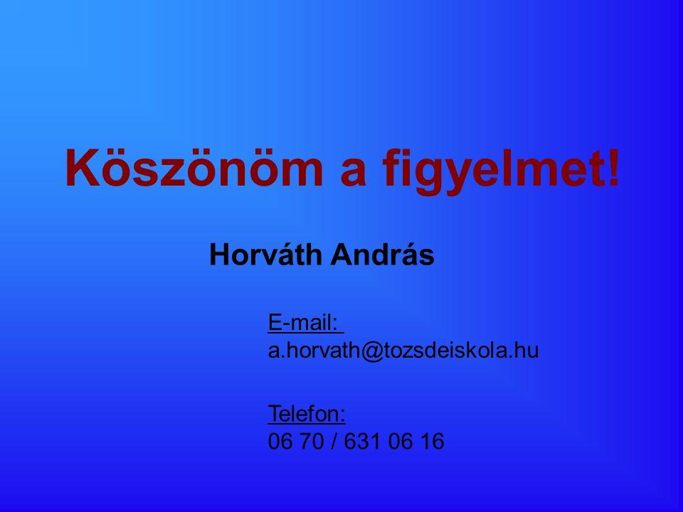 Köszönöm a figyelmet! Horváth András E-mail: a.horvath@tozsdeiskola.hu Telefon: 06 70 / 631 06 16