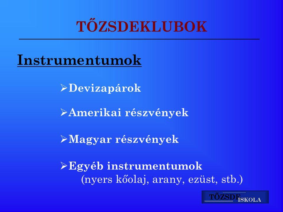 TŐZSDEKLUBOK Instrumentumok  Devizapárok  Amerikai részvények  Magyar részvények  Egyéb instrumentumok (nyers kőolaj, arany, ezüst, stb.)