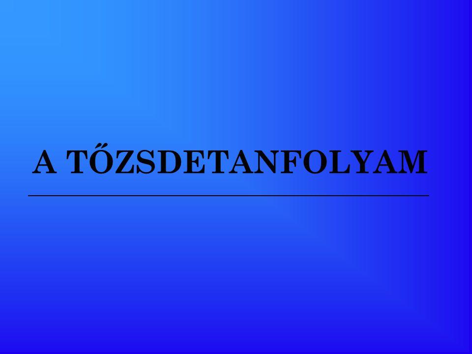 A HALADÓ TŐZSDETANFOLYAM TEMATIKÁJA 10 modul 1.Ismétlés 2.