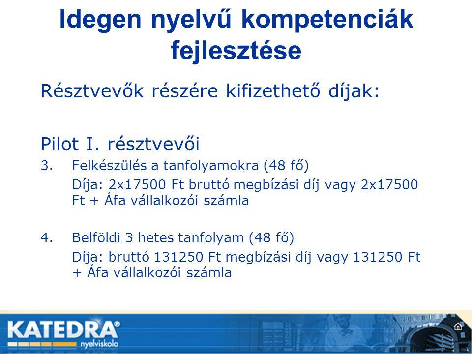 Idegen nyelvű kompetenciák fejlesztése Résztvevők részére kifizethető díjak: Pilot I. résztvevői 3.Felkészülés a tanfolyamokra (48 fő) Díja: 2x17500 F