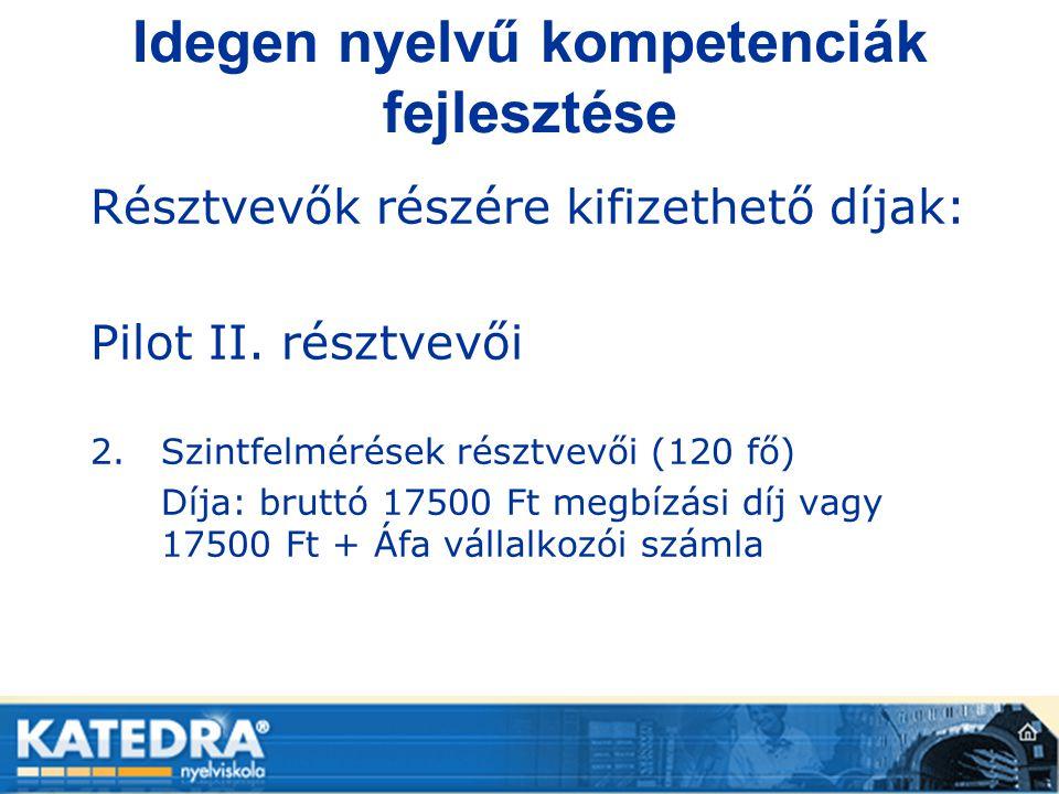 Idegen nyelvű kompetenciák fejlesztése Résztvevők részére kifizethető díjak: Pilot II. résztvevői 2.Szintfelmérések résztvevői (120 fő) Díja: bruttó 1