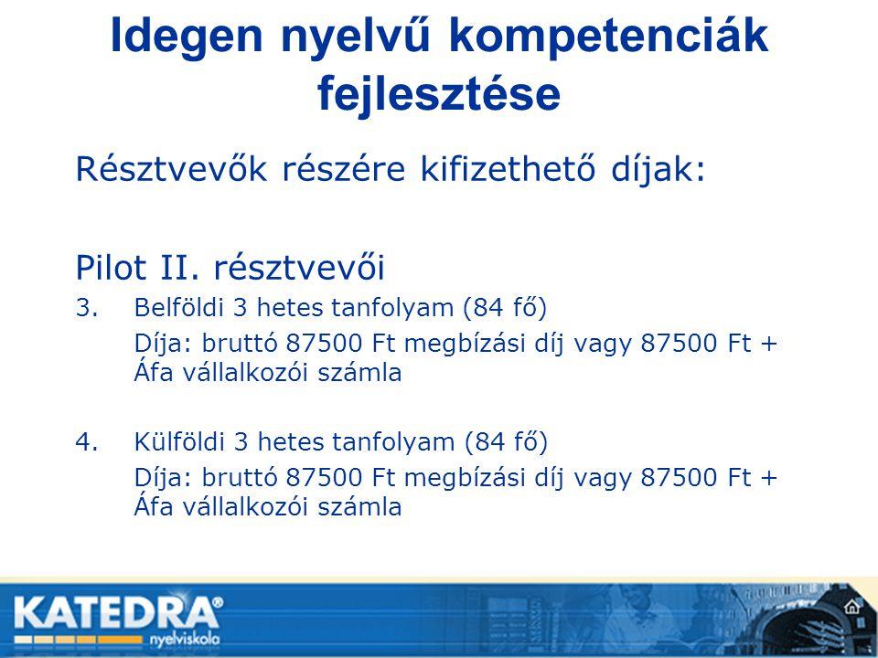 Idegen nyelvű kompetenciák fejlesztése Résztvevők részére kifizethető díjak: Pilot II. résztvevői 3.Belföldi 3 hetes tanfolyam (84 fő) Díja: bruttó 87