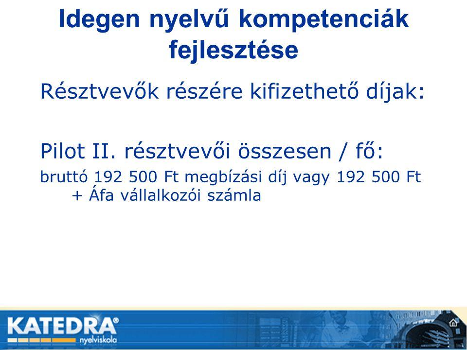 Idegen nyelvű kompetenciák fejlesztése Résztvevők részére kifizethető díjak: Pilot II. résztvevői összesen / fő: bruttó 192 500 Ft megbízási díj vagy