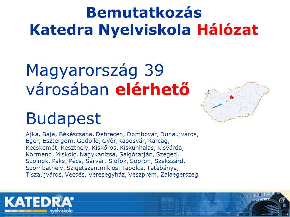 Bemutatkozás Katedra Nyelviskola Hálózat Magyarország 39 városában elérhető Budapest Ajka, Baja, Békéscsaba, Debrecen, Dombóvár, Dunaújváros, Eger, Es