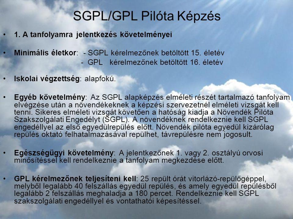 SGPL/GPL Pilóta Képzés •1. A tanfolyamra jelentkezés követelményei •Minimális életkor: - SGPL kérelmezőnek betöltött 15. életév - GPL kérelmezőnek bet