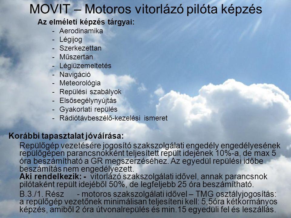 MOVIT – Motoros vitorlázó pilóta képzés Az elméleti képzés tárgyai: -Aerodinamika -Légijog -Szerkezettan -Műszertan -Légiüzemeltetés -Navigáció -Meteo