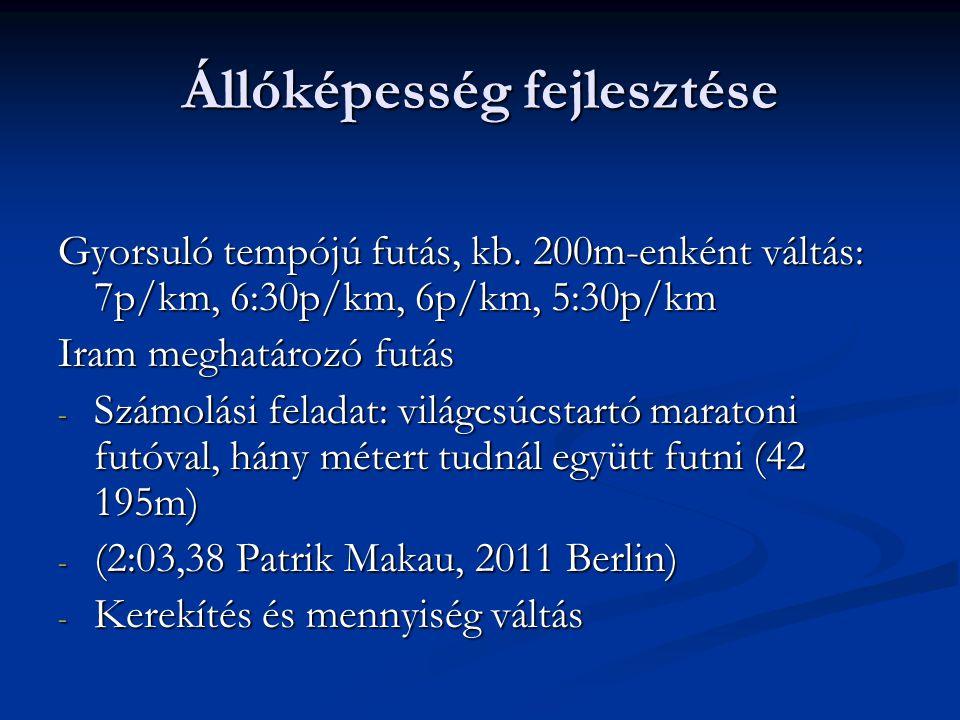 Állóképesség fejlesztése Váltogatott iramú futások - Kb.
