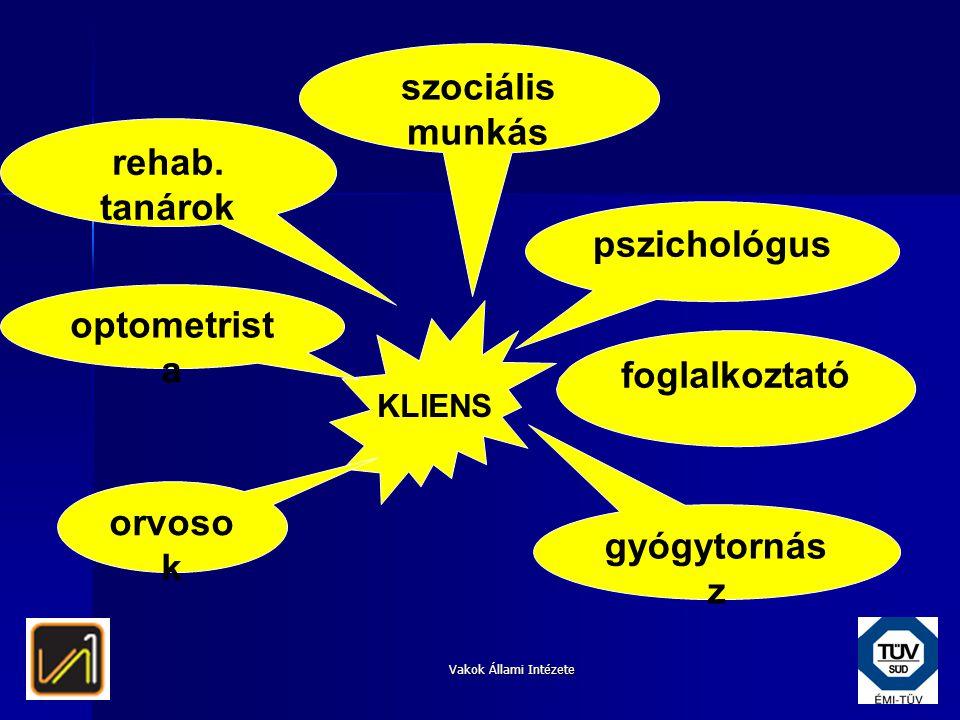 Vakok Állami Intézete KLIENS pszichológus szociális munkás orvoso k foglalkoztató rehab. tanárok optometrist a gyógytornás z