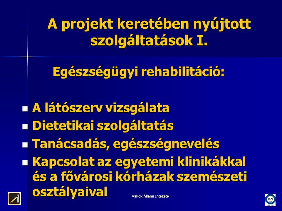 Vakok Állami Intézete A projekt keretében nyújtott szolgáltatások I. Egészségügyi rehabilitáció:  A látószerv vizsgálata  Dietetikai szolgáltatás 