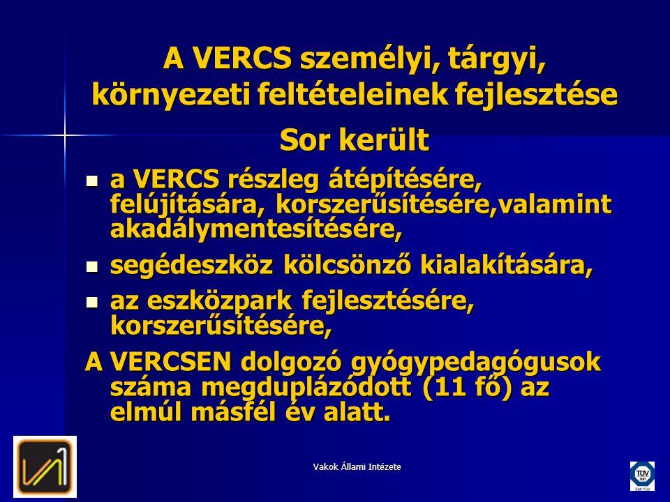 Vakok Állami Intézete A VERCS személyi, tárgyi, környezeti feltételeinek fejlesztése Sor került  a VERCS részleg átépítésére, felújítására, korszerűs