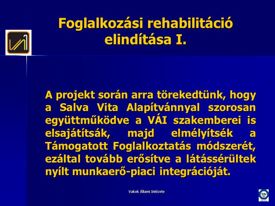 Vakok Állami Intézete Foglalkozási rehabilitáció elindítása I. A projekt során arra törekedtünk, hogy a Salva Vita Alapítvánnyal szorosan együttműködv