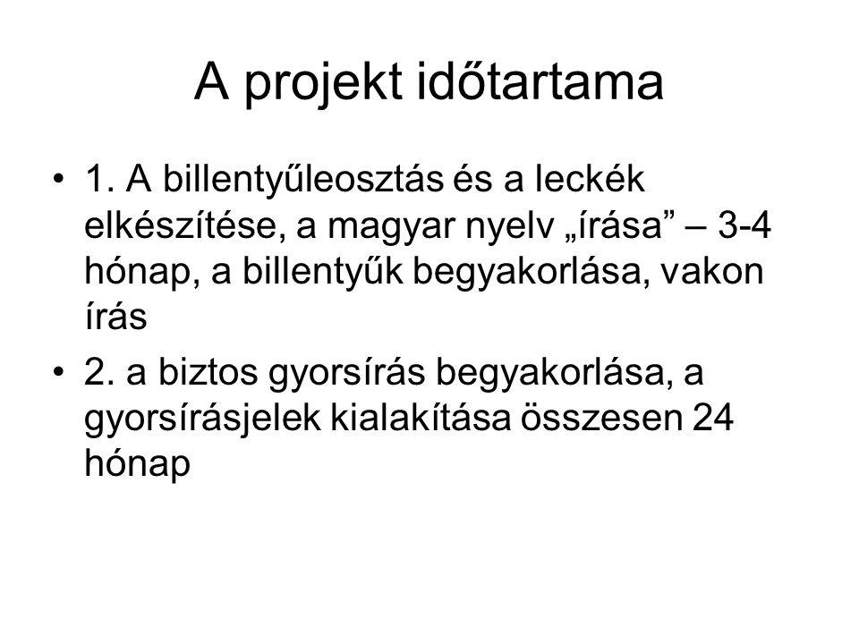 A projekt időtartama •1.
