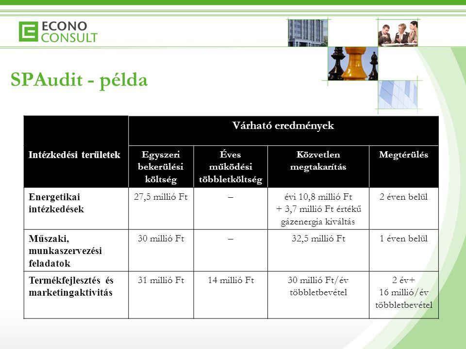SPAudit - példa Hosszú távú intézkedések  Élményfürdő átalakítása (profiltisztítás)  Fürdő bővítése (kiválasztott célcsoportok igényeinek teljes körű kielégítése)  Megkülönböztető arculat, tematika kialakítása  Fürdőhöz kapcsolódó szálláshely- és szolgáltatásfejlesztés  Energetikai rendszer fejlesztése  Hévíztározó kiépítése  Visszasajtoló termálkút létesítése  Távvezetékhálózat kiépítése, hőközpontok átalakítása  Marketingtevékenység fejlesztése  Árpolitika átalakítása  Aktívabb, tudatosabb értékesítési politika  Kommunikáció, arculat fejlesztése