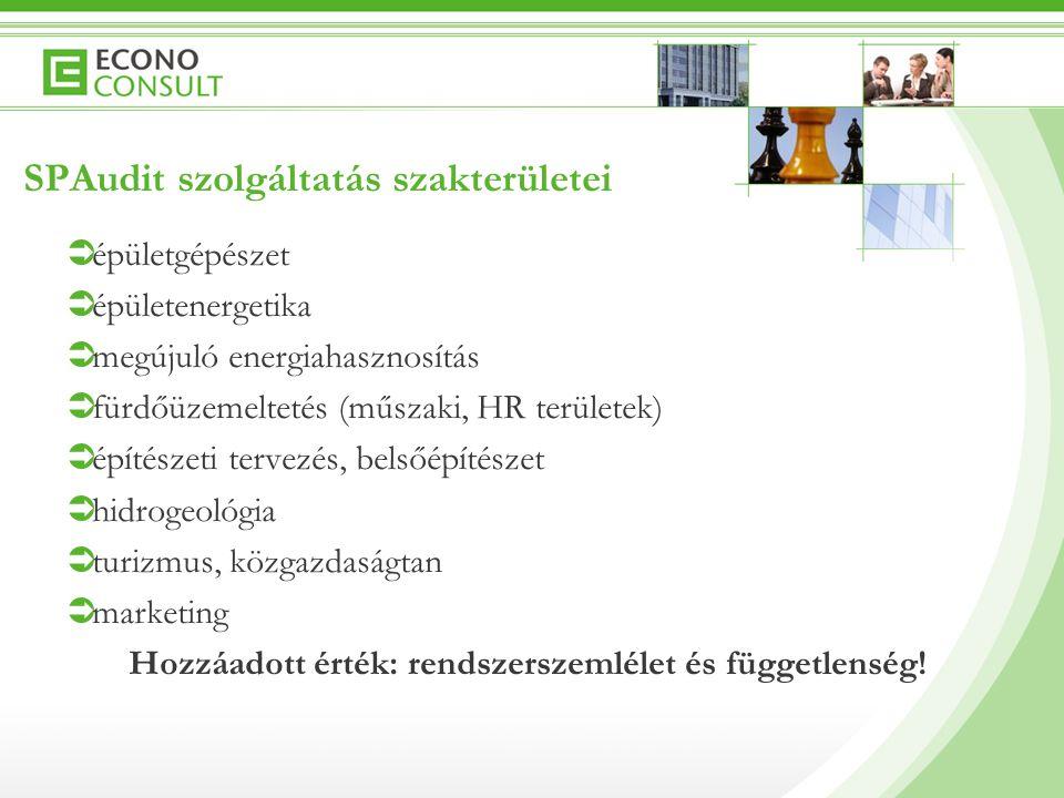 SPAudit szolgáltatás szakterületei  épületgépészet  épületenergetika  megújuló energiahasznosítás  fürdőüzemeltetés (műszaki, HR területek)  építészeti tervezés, belsőépítészet  hidrogeológia  turizmus, közgazdaságtan  marketing Hozzáadott érték: rendszerszemlélet és függetlenség!
