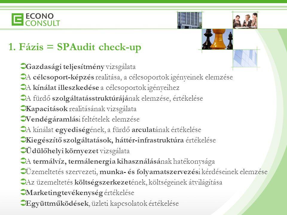 1. Fázis = SPAudit check-up  Gazdasági teljesítmény vizsgálata  A célcsoport-képzés realitása, a célcsoportok igényeinek elemzése  A kínálat illesz