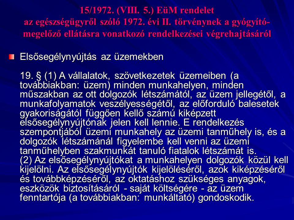 15/1972.(VIII. 5.) EüM rendelet az egészségügyről szóló 1972.