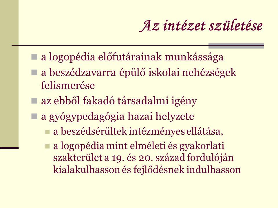 Az intézet születése  A magyarországi logopédia megteremtői: Roboz József és dr.