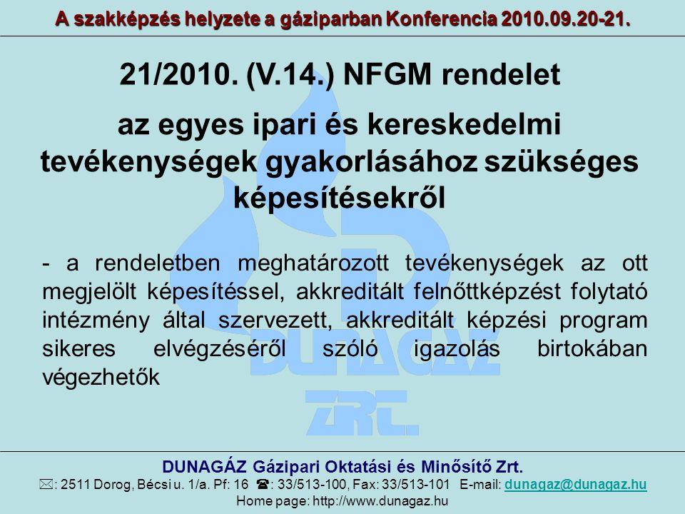 A szakképzés helyzete a gáziparban Konferencia 2010.09.20-21. DUNAGÁZ Gázipari Oktatási és Minősítő Zrt.  : 2511 Dorog, Bécsi u. 1/a. Pf: 16  : 33/5