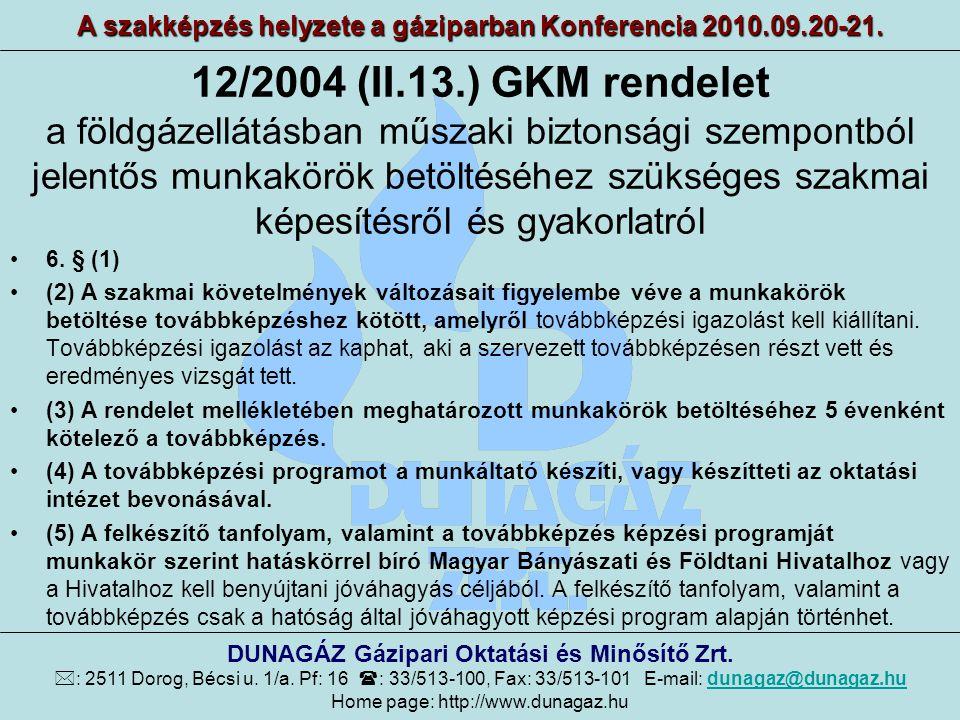 12/2004 (II.13.) GKM rendelet A szakképzés helyzete a gáziparban Konferencia 2010.09.20-21. DUNAGÁZ Gázipari Oktatási és Minősítő Zrt.  : 2511 Dorog,