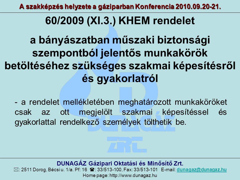60/2009 (XI.3.) KHEM rendelet A szakképzés helyzete a gáziparban Konferencia 2010.09.20-21. DUNAGÁZ Gázipari Oktatási és Minősítő Zrt.  : 2511 Dorog,