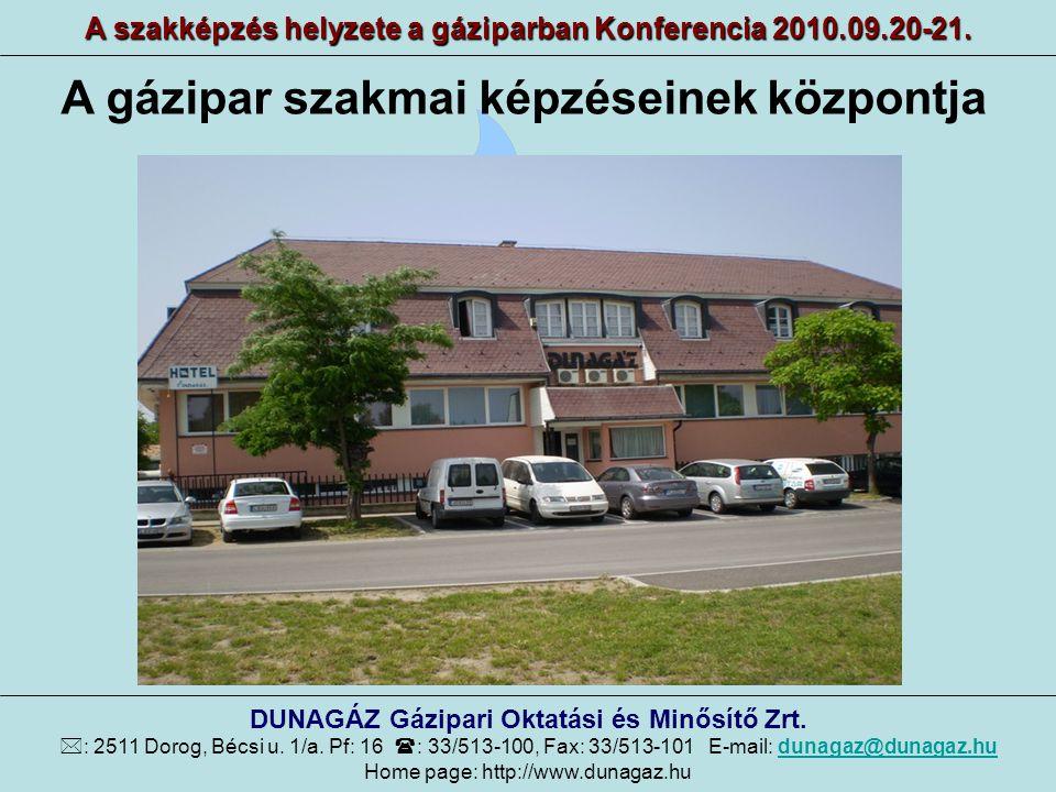 Az elmúlt 20 év tevékenysége A szakképzés helyzete a gáziparban Konferencia 2010.09.20-21.