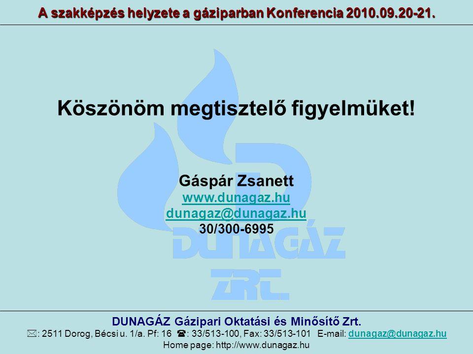 Köszönöm megtisztelő figyelmüket! Gáspár Zsanett www.dunagaz.hu dunagaz@dunagaz.hu 30/300-6995 A szakképzés helyzete a gáziparban Konferencia 2010.09.