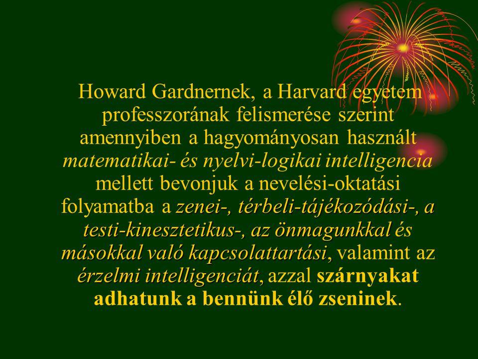 zenei-, térbeli-tájékozódási-, a testi-kinesztetikus-, az önmagunkkal másokkal való kapcsolattartási, érzelmi intelligenciát, Howard Gardnernek, a Har