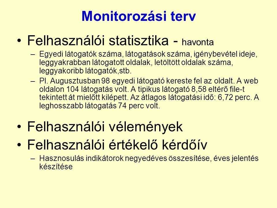 Monitorozási terv •Felhasználói statisztika - havonta –Egyedi látogatók száma, látogatások száma, igénybevétel ideje, leggyakrabban látogatott oldalak, letöltött oldalak száma, leggyakoribb látogatók,stb.