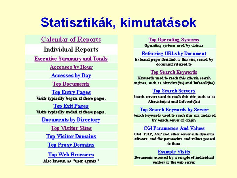 Statisztikák, kimutatások