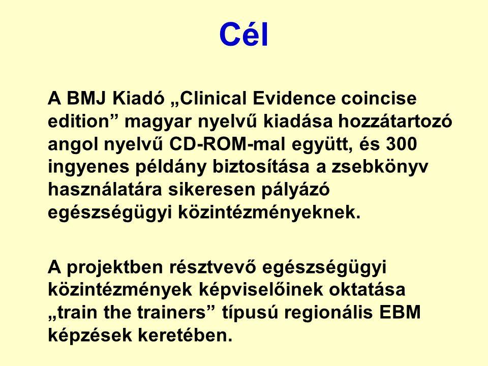 """Cél A BMJ Kiadó """"Clinical Evidence coincise edition magyar nyelvű kiadása hozzátartozó angol nyelvű CD-ROM-mal együtt, és 300 ingyenes példány biztosítása a zsebkönyv használatára sikeresen pályázó egészségügyi közintézményeknek."""