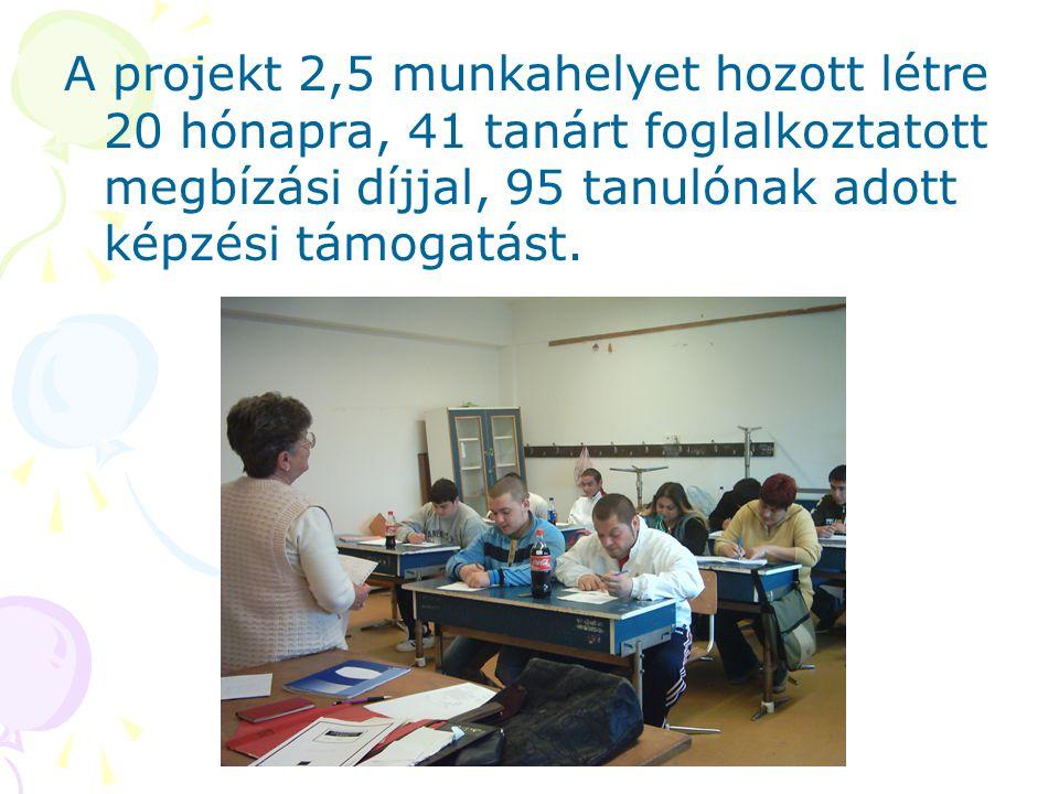 A projekt 2,5 munkahelyet hozott létre 20 hónapra, 41 tanárt foglalkoztatott megbízási díjjal, 95 tanulónak adott képzési támogatást.
