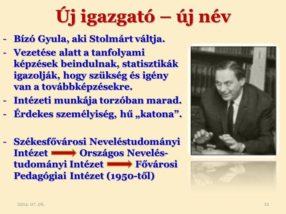 Új igazgató – új név -Bízó Gyula, aki Stolmárt váltja. -Vezetése alatt a tanfolyami képzések beindulnak, statisztikák igazolják, hogy szükség és igény