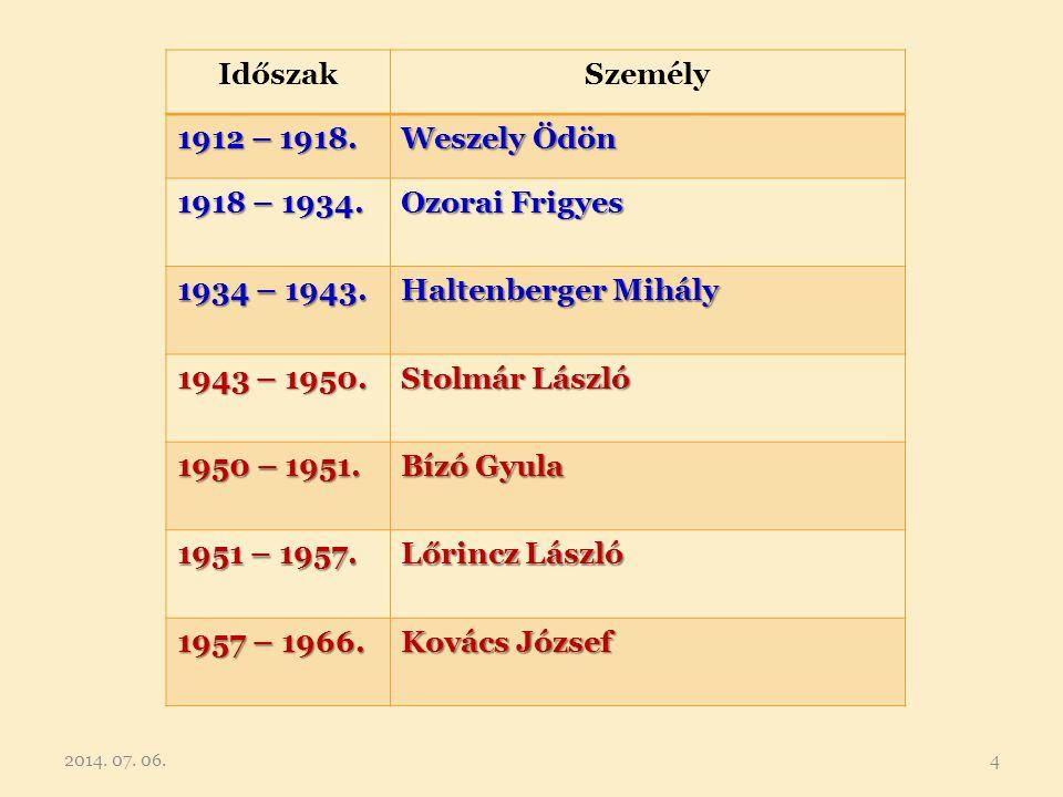 IdőszakSzemély 1912 – 1918. Weszely Ödön 1918 – 1934. Ozorai Frigyes 1934 – 1943. Haltenberger Mihály 1943 – 1950. Stolmár László 1950 – 1951. Bízó Gy
