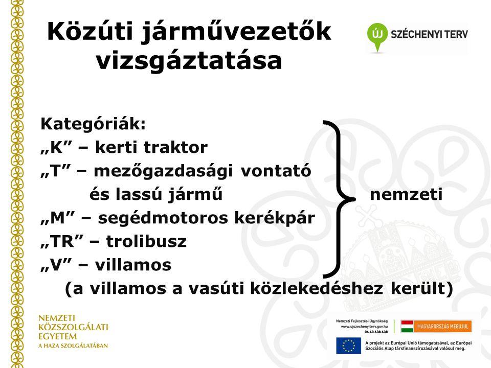 """Közúti járművezetők vizsgáztatása Kategóriák: """"K"""" – kerti traktor """"T"""" – mezőgazdasági vontató és lassú jármű nemzeti """"M"""" – segédmotoros kerékpár """"TR"""""""
